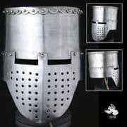 12th - 13th Century Crusader Flat Top Helmet - 14 Gauge