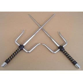 Deluxe Chrome Plated Sai Set With Leather Handle