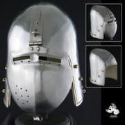 Klappviser Bascinet Helm - 14 Gauge