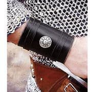 Leather Bracers With Silver Emblem