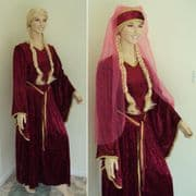 Medieval Crushed Velvet Dress Set - Wig, Veil, & Dress