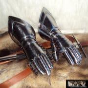 Medieval Gauntlets. 16,Gauge Steel With Leather Gloves