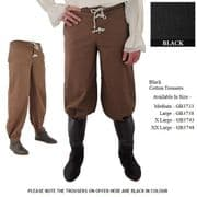 Medieval / Renaissance Cotton Trousers Button Front With Boot Cuffs - 3 Colours