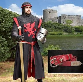 Narrow Red Leather Tunic Belt with Maltese Cross