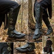Pirate / Highwayman Boot Topper Gaiter with Brass Buckles