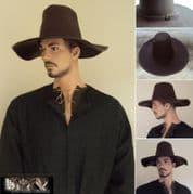 Renaissance Period Wide Brim Heavy Leather Hat