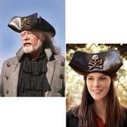 Skull & Crossbones Black Leather Pirate Tricorn Hat