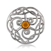 Triple Spiral With Stone Pewter Brooch