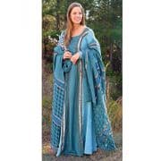 Turquoise Gown With Throw