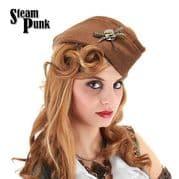 Womens Steampunk Garrison Cap / Hat in Brown