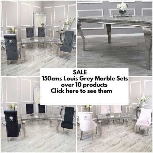 150cms Louis Light Grey Marble Dining Tables