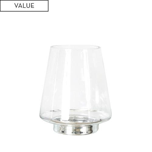 20cm Clear Glass Vase with Silver Base