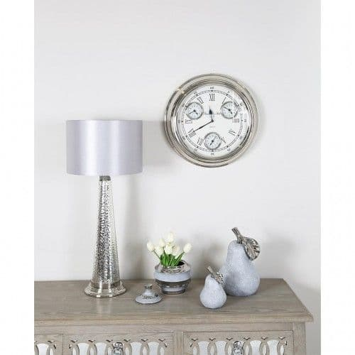 4 Time Zone White And Nickel Wall Clock