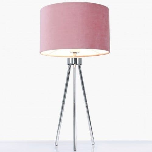 68cm Chrome Tripod Table Lamp with Pink Shade