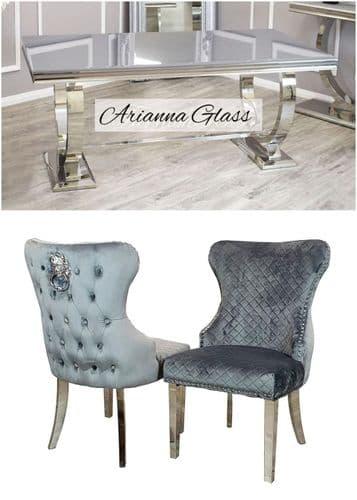 Arianna Grey 180cms Glass Table & Grey Chelsea Lionhead  Chairs