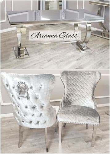 Arianna Grey 180cms Glass Table & Pewter Chelsea Lionhead  Chairs
