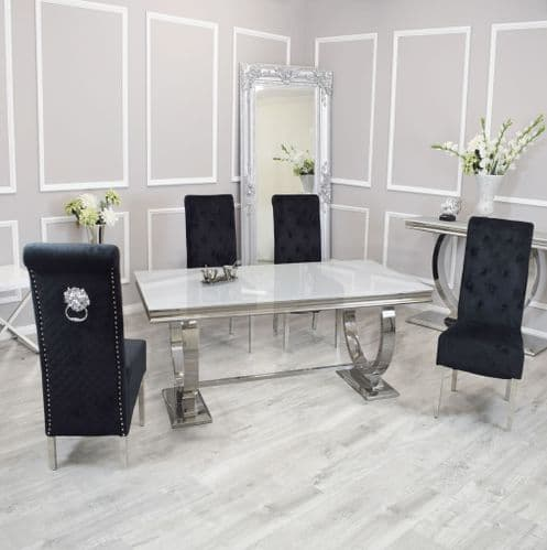 Arianna  White 180cms Glass Dining Table & Black  Laurie Lionhead Chairs