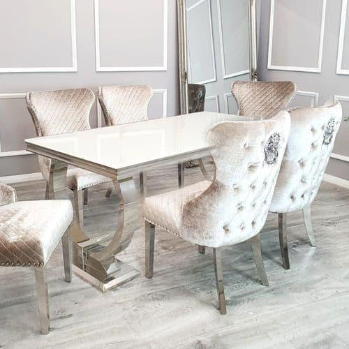 Arianna White 180cms Glass Table & Beige Chelsea Lionhead  Chairs