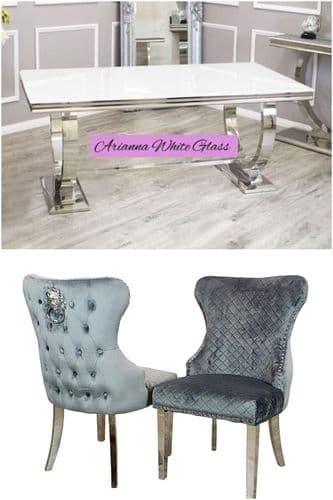 Arianna White 180cms Glass Table & Grey Chelsea Lionhead  Chairs
