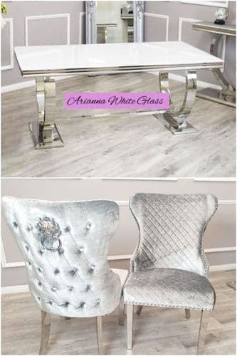Arianna White 180cms Glass Table & Pewter Chelsea Lionhead  Chairs