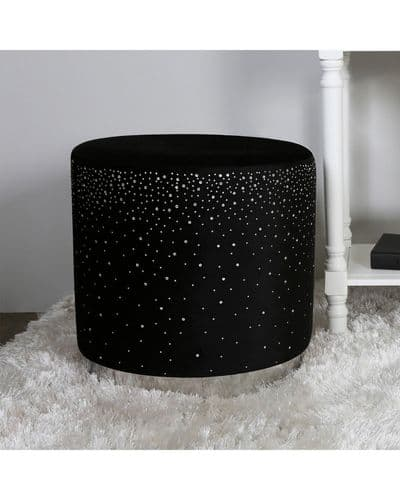 Black Velvet Sparkle Stool