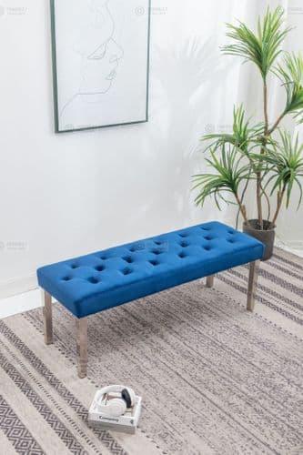 Chelsea Blue Velvet Dining Bench 130cms