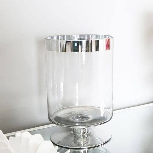 Clear & Silver Glass Cylinder Vase