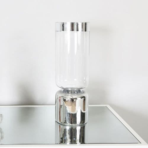 Clear & Silver Glass Podium Vase