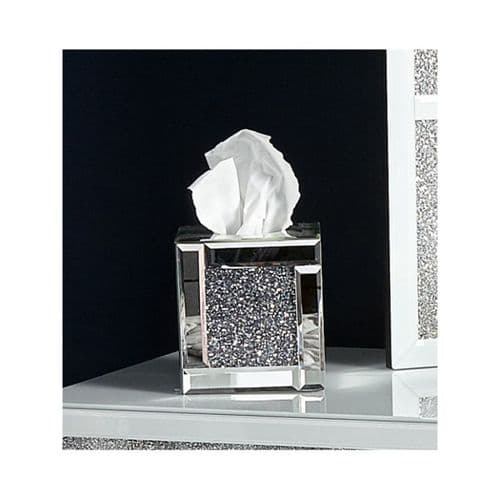 Crushed Crystal Mirrored Tissue Box Holder