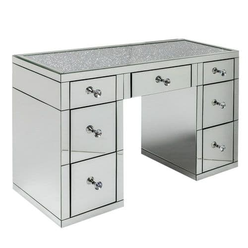 Crushed Diamond Mirrored Pedestal Dressing Table