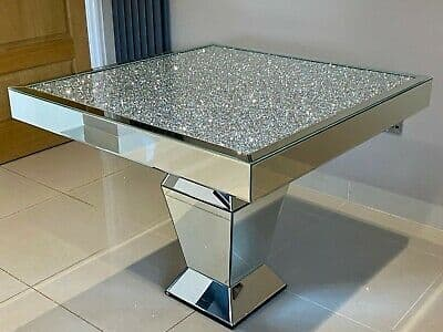 Crushed Diamond Mirrored Square Dining Table