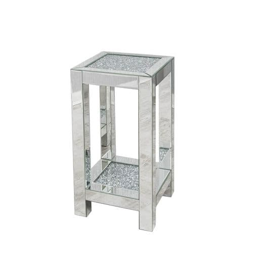 Crushed Diamond Mirrored Square Lamp Table