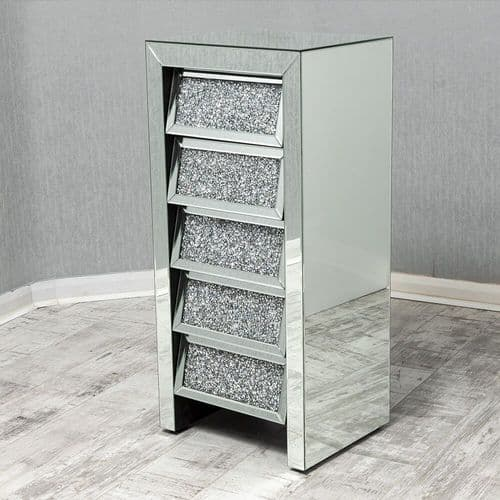 Crushed Diamond  Mirrored Tallboy Chest Of Drawers