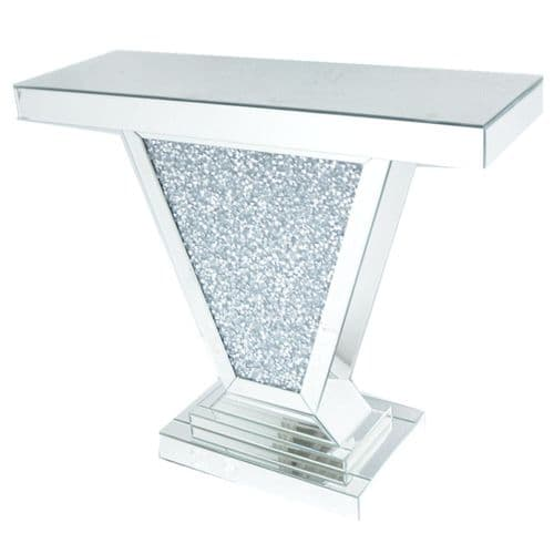 Crushed Diamond Mirrored V Console Table