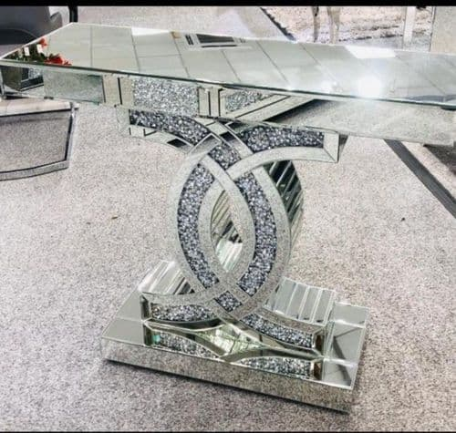 Crushed Luxury Diamond Mirrored CC Console Table