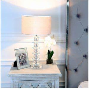 Crystal Glass Table Lamp with White Velvet Shade