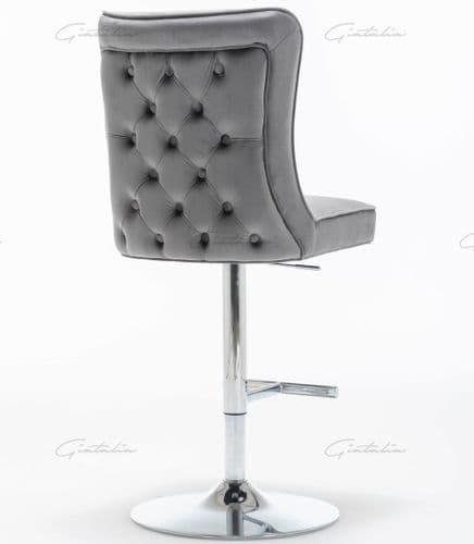 Dark Grey   Velvet  Belgravia Buttoned Bar Stool