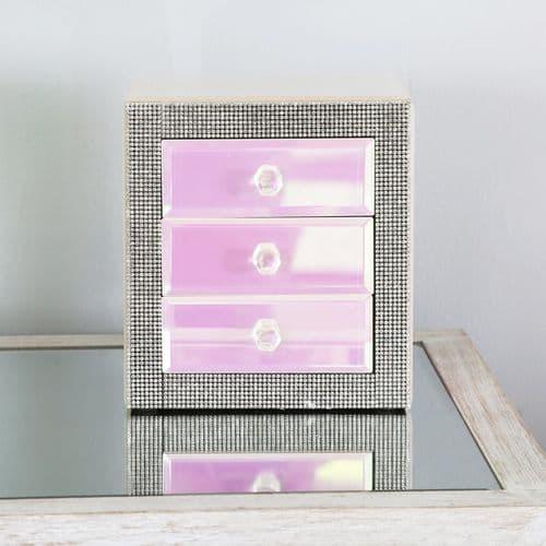 Glitz And Pink Lustre 3 Drawer Jewellery Box