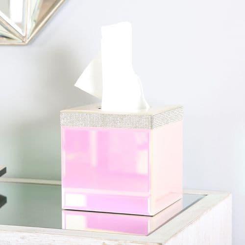 Glitz And Pink Lustre Cube Tissue Box Holder