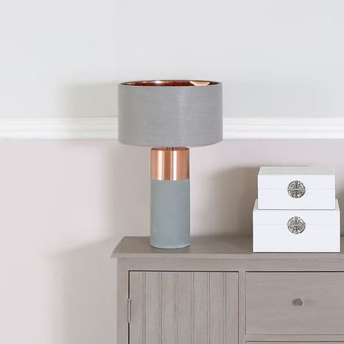 Grey Copper Table Lamp with Grey Shade