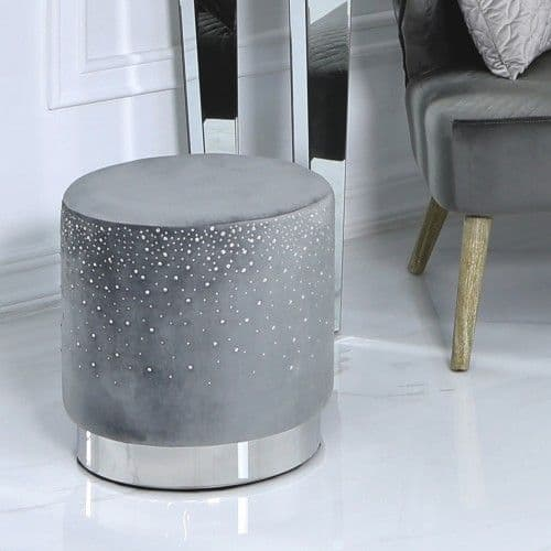 Grey Velvet Sparkle Stool