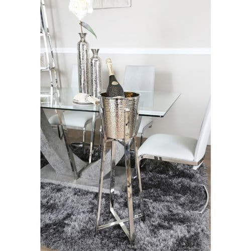 Hammered Stainless Steel Bucket Wine Chiller on Stand