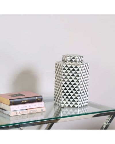 Large 30cm Hexagon White & Silver Ginger Jar