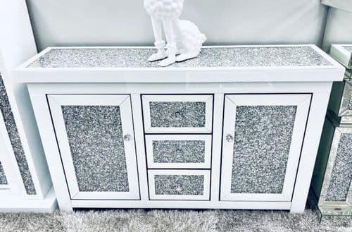 Large Crushed Diamond White Mirrored  Sideboard