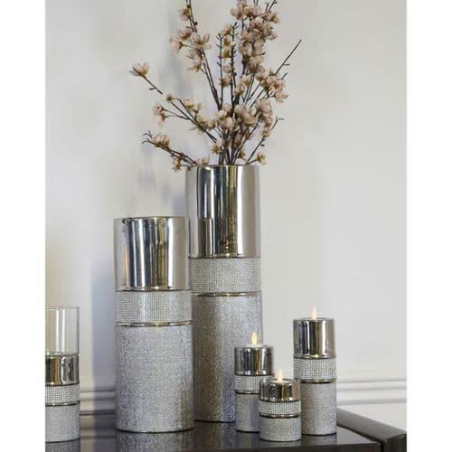 Large Glitz & Silver Vase