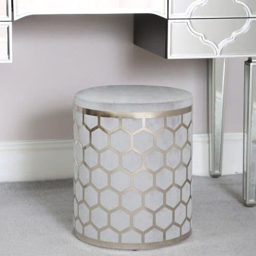 Lattice Grey & Silver Round Stool