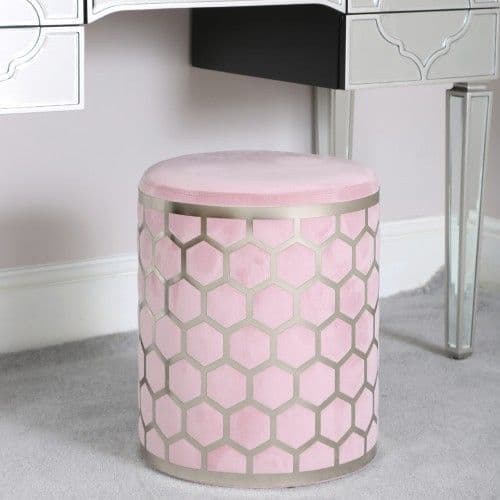 Lattice Pink  & Silver Round Stool