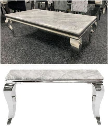 Lorie Grey Marble Coffee Table & Console Table Package