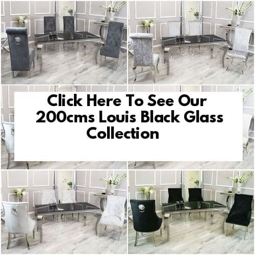 Louis Black Glass 200cms Dining Tables