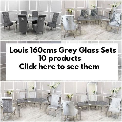 Louis Grey Glass 160cms Dining Tables